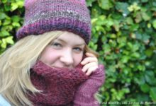 Snood Edgard, en alpaga bordeaux